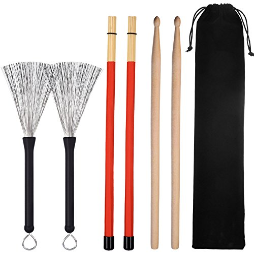 1 Paar 5A Drumsticks Klassisch Ahornholz Drumsticks Set 1 Paar Trommelbürsten Einziehbare Drum Stick Bürste und 1 Paar Rod Drum Brushes für Jazz Folk, Insgesamt 3 Paar mit Aufbewahrungstasche (Bürste, Et Holzstäbchen)