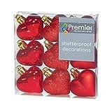 Premier Decorazioni di Natale 9 Confezione da 40 mm Multi Finitura Palline Cuore - Rosso