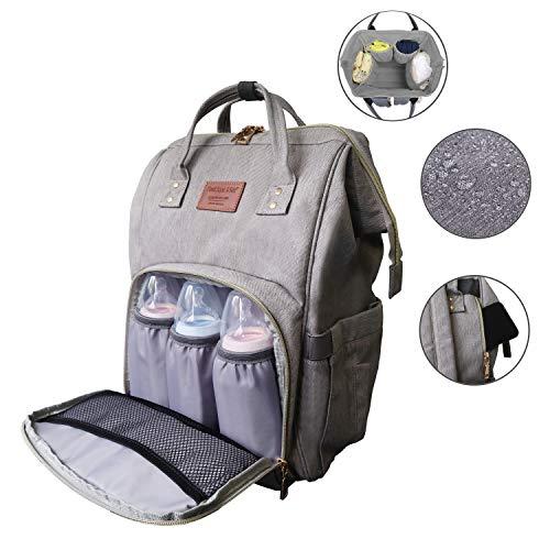 Fastique Kids® Baby Wickelrucksack - Multi-Funktions wasserdichte Wickeltasche - Mama Reisetasche Organizer für unterwegs - viel Stauraum (Grau)