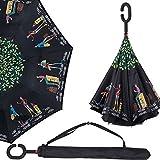 Parapluie Inversé, ZOQI Protection UV Parasol inversé coupe-vent automatique protection contre la pluie avec C-mains en forme de mains libres (paon)
