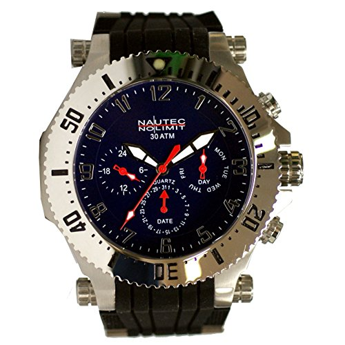Nautec No Limit men's Quartz Watch Analogue Display and Rubber Strap STKG-QZ-RBSTST-BL