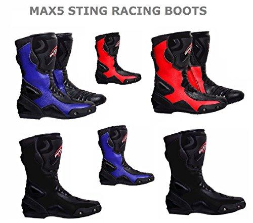 Maxfive Motorradstiefel Sting 007 RENNSTIEFEL Touren Stiefel Sports Allround Neu Stil 2018 Modell Alle Neu Farbe (Rot, 44)