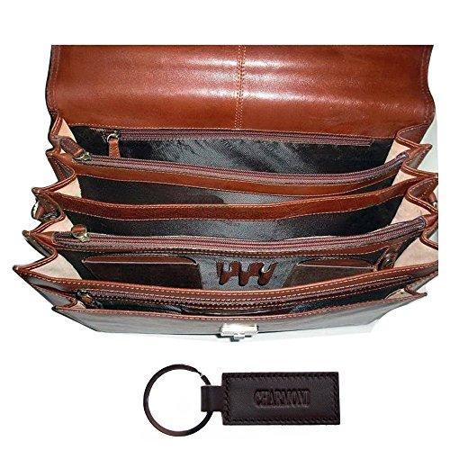 Charmoni-Asciugamano Cartella valigetta con 4 alette, in pelle di vacchetta nuovo Gauvain Marrone