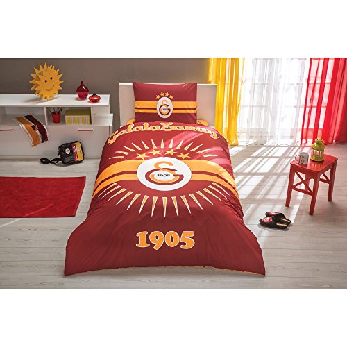 galatasaray bettwaesche TI Home Galatasaray Shining Sun Lizenzprodukt Bettbezug-Set, 100% Baumwolle Ranforce, Single Größe 3-teiliges Bettwäsche-Set
