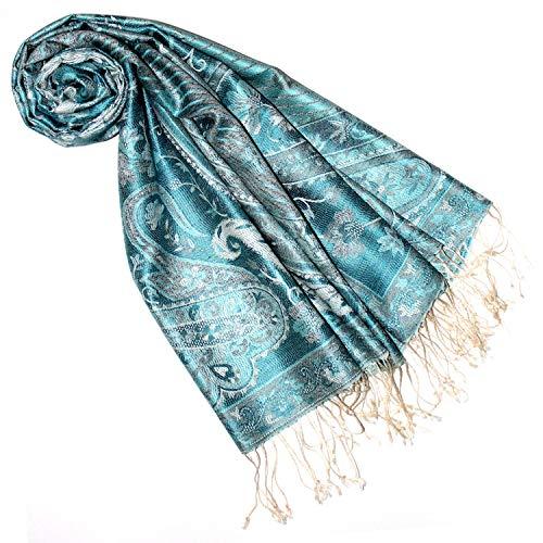 Lorenzo Cana Luxus Pashmina Damen Schal Schaltuch jacquardgewebt 100% Seide Paisley Muster Seidenschal Seidentuch Seidenpashmina mehrfarbig türkis blau grün 7802877