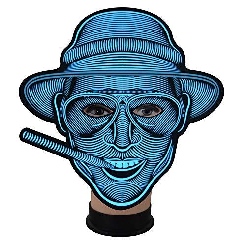 (Zhanghaidong Scary Halloween Maske Musik LED Party Maske Cosplay Glühen Leuchten Masken LED Maske Sound Aktiviert Perfekt Für Festival Dance Party Halloween Kostüme)