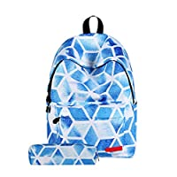 CAMLAKEE School Bag Sets for Kids Quilted Backpack Laptop Book Bag Boys Girls Rucksack with Pencil Case