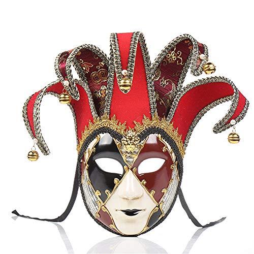 UK_Stone Venezianische Maske Masquerade Maske Halloween Karneval Maske für Damen und Herren Karo Muster, ()