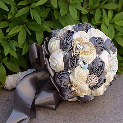 Wedding bouquet for the bride,Wedding bouquets,Bridesmaid Bridal bouquet For Wedding,wedding decorations,Bouquet Flowers Roses Crystal pearl Wedding Bouquet, Bridal Artificial Silk Flowers@dark gray