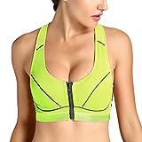 SYROKAN Damen Max Sport BH - Reißverschluss,X-Rücken Und Abnehmbare Polsterung Grün 70B