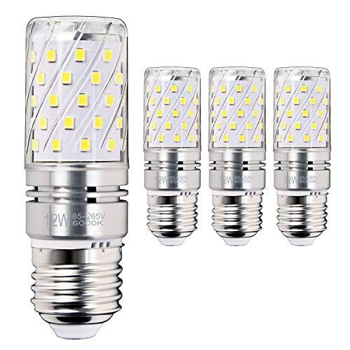 Leuchtmittel 12W, Entspricht 100W Glühbirnen, 6000K Tageslicht Weiß Kandelaber E27 Leuchtmittel, 1200lm, LED Birne, Edison Schraube LED Leuchtmittel, 4-Pack ()