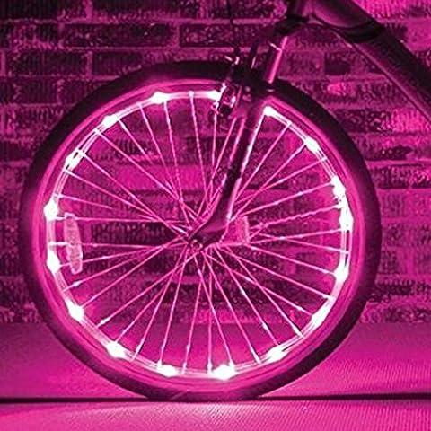 Fahrrad Licht 20 Led Fahrradreifen Beleuchtung Reifen Rad Licht Lampe Felgenlicht, 2 Optionen vom Lichtmodus für 1 Rad PINK