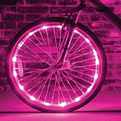 Preisvergleich Produktbild Fahrrad Licht 20 Led Fahrradreifen Beleuchtung Reifen Rad Licht Lampe Felgenlicht, 2 Optionen vom Lichtmodus für 1 Rad PINK