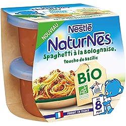 Nestlé Naturnes Bio Petits pots bébé Spaghetti à la Bolognaise, touche de basilic Dès 8 mois 2x190g