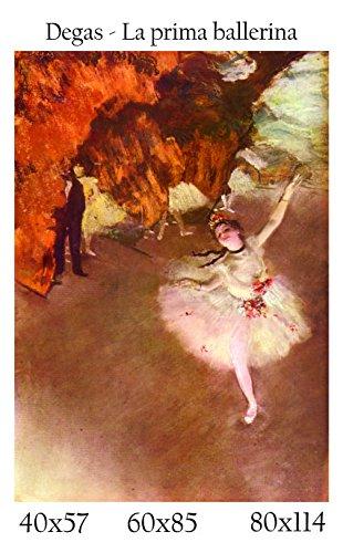 Stampa in Telo Canvas 100% QUALITà ITALIA - Degas - La prima ballerina effetto Dipinto Idea Regalo Casa quadro cucina stanza da letto soggiorno (60x85)