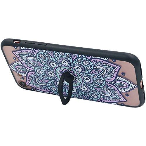 Coque iPhone 7, TrendyBox Transparent Noir Givré Anti-rayures Rotation Bague Case pour iPhone 7 avec verre trempe film de protection (Dentelle Fleurs) 1013