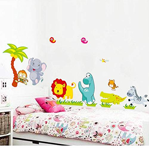 ZHOUZXY Cartoon Jungle Wild Animals DIY 3D Vintage Wallpaper Vinilo Pegatinas De Pared para Habitaciones De Niños Calcomanías De Arte De Pared Infantil Decoración Del Hogar