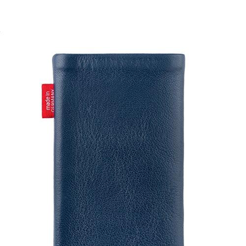 fitBAG Groove Silber Handytasche Tasche aus feinem Folienleder Echtleder mit Microfaserinnenfutter für Apple iPhone 5 Beat Royalblau