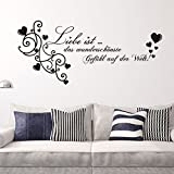 PeiTrade German Liele Love The Living Room Bedroom Can Remove Background Wall Stickers Wall Sticker Art Decal Home Room Decor Office Wall Mural Wallpaper Art Sticker Decal Paper Mural for Home Bedroom