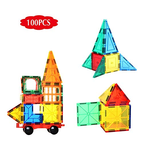TTGE Magnetisches Stück bausteine Mehrfarbig transparent BAU Montage Lernspielzeug für Kinder 100PCS