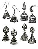 #9: Zaveri Pearls Pack Of Four Finely Detailed & Designer Oxidised Jhumki Earrings - ZPFK5723