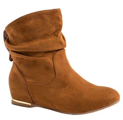 6151b46d03bc Elara Damen Schlupfstiefel Bequeme Klassiche Stiefeletten Flache Boots  Camel New