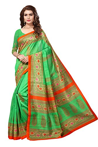 Floral Trendz Women's Bhagalpuri Silk Printed Saree With Blouse Piece.(Bhagalpuri 746_Green_Free Size)