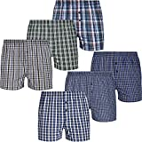 Mctam Herren Boxershorts Men 6er Pack Unterwäsche Unterhosen Männer American Klassisch Kariert 100% Baumwolle, XL, 6X Mix American 3