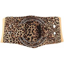 Uiophjkl Banda de Cintura Cinturón de cincha Ancha elástica de Mujer Cinturones de Hebilla Gruesa Vintage Adecuado para Uso Diario (Color : Estampado de Leopardo)