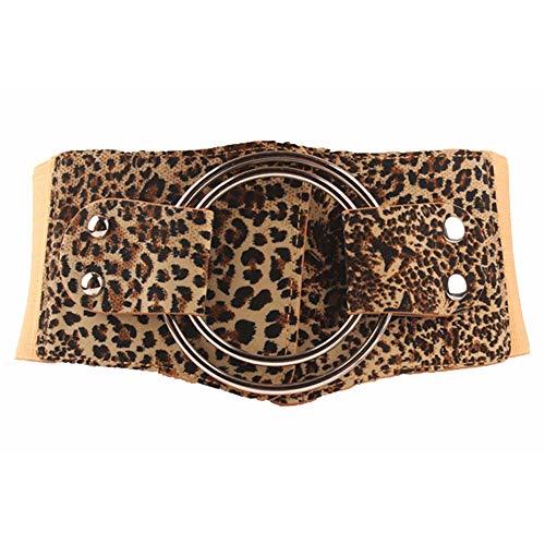 Y-WEIFENG Cinturón de Mujer Cinturón elástico Ancho Cinturones de Hebilla Gruesos Vintage ` (Color : Estampado de Leopardo)