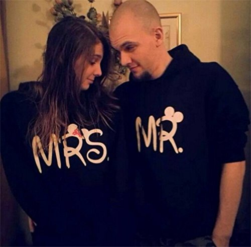 "Qissy® Lovers Pull Sweatshirt ""MR"", ""MRS"" Lettrer Imprimer couple de chemise T-shirt Col Rond Blouse Casual Tee Shirt Pull Hoodies Outwear Jumper Tops MR"