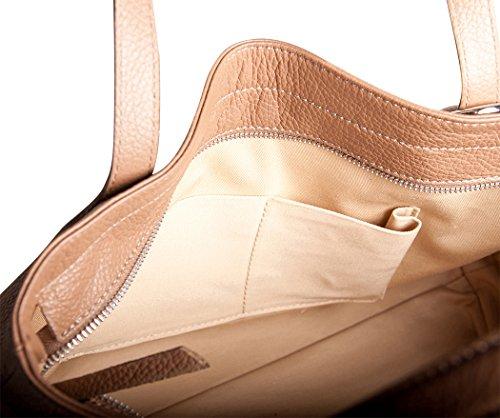 Pelle Italy Damen Schultertasche Echtes Leder 38x29x10 cm (BxHxT), Farbe:Schwarz Taupe