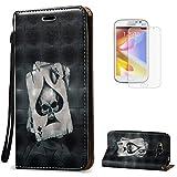 KaseHome Compatible For Samsung Galaxy Grand Neo Plus i9060/i9082 Wallet Funda PU Leather Cuero Piel Caso Función De Soporte Billetera con Tapa Libro Tarjetas del Protector -As de Espadas