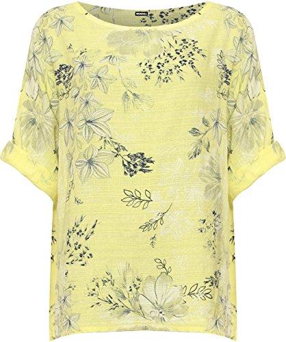 WEARALL Damen Plus Scoop Leinen Ausgebeult Top Damen Kurz Hülle Blumen Druck T-Shirt - 44-54 Gelb