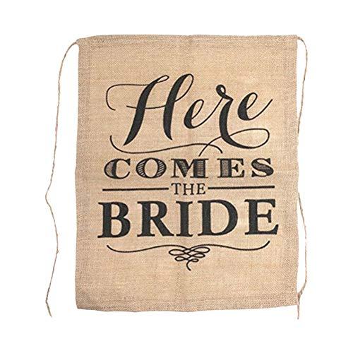 BESTOYARD 4 stücke Hier Kommt Die Braut Zeichen Sackleinen Stuhl Banner Thema Hochzeit Flagge Rustikale Zeremonie Dekoration Party Favors Supplies (Die Kommt Braut-zeichen Hier)