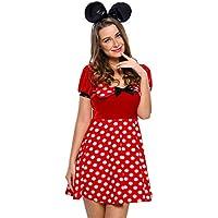 Nuevas mujeres 4piezas blanco y rojo Dot Minnie Mouse Disney disfraz disfraz para despedida de soltera fiesta de Halloween tamaño S UK 8–10EU 36–38