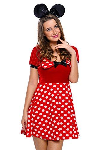 neuen Frauen 2Stück Rot & Weiß Dot Samt Disney Minnie Maus Kostüm Fancy Dress Hen Night Halloween Party Größe M UK 10–12EU (Uk Kostüme Größe 22 Halloween)