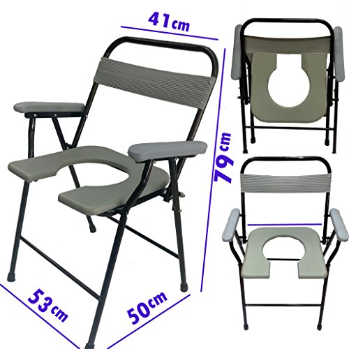 SUPREME HEAVY DUTY FOLDABLE COMMODE CHAIR WITH FRONT CUT EASY TO FOLD AND CLEAN