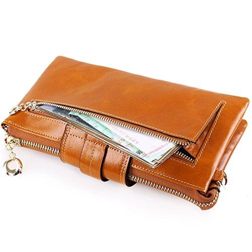 Artemis'Iris Womens Portafoglio grande capienza 2-in-1 spalla Funzione della borsa Zipper carte denaro Phone Holder Cera in pelle borsa lunga, cammello darkred