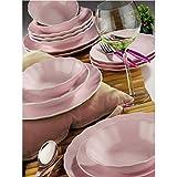 Luxus 24 tlg. Teiliges Tafelservice Kütahya Porzellan Essservice Tellerset Hochzeit Feier Verlobung Geburtstag (rosa)
