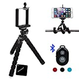 xhorizon(TM)MW8 Flexible Mini Octopus Stil Tripod Stativ mit Halterung für Smartphone, Kamera, Webcam mit Bluetooth Wireless Fernauslöser für iPhone Samsung und anderen IOS / Android Phone - Schwarz