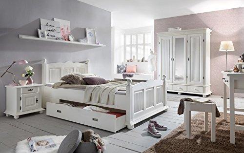 Kinderzimmer Set 'Emilia 5' 6-teilig Schminktisch Mädchenzimmer Bett 120x200 Weiß