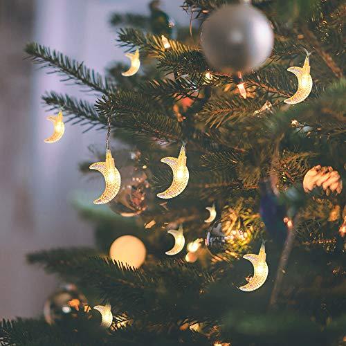 Mond Lichterketten, 20ft 40 LED Ramadan Licht Batteriebetriebene Dekorative Beleuchtung für Hausgarten-Schlafzimmer im Freien Innen, Dekoration Geschenk Für Ramadan, Muttertag, Weihnachten