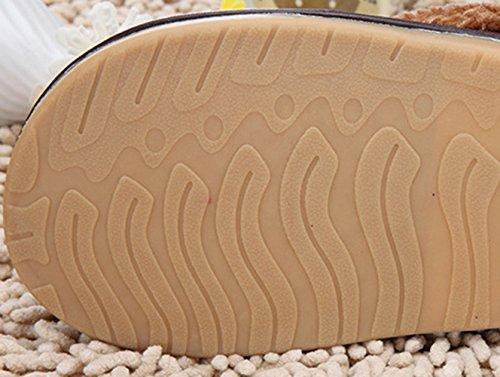 Icegrey Pantoufles Unisexe Et Confortable En Molleton Faux Cuir Peluche Maison Plat Chaussures Vin rouge