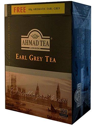 Ahmad Tea- Earl Grey 100 St. Schwarzer Beutel-Tee á 2 Gramm(Plus 40 Gramm) mit Band
