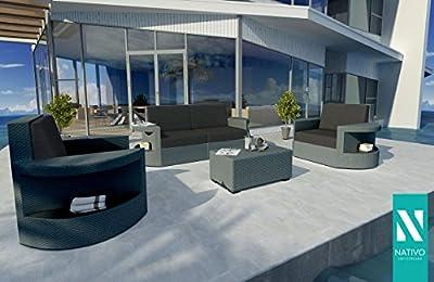 Designer Outdoor Lounge Rattan Lounge Set Atlantis 2+1+1 V1 Nativo© von NATIVO Deutschland bei Gartenmöbel von Du und Dein Garten