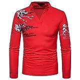Manadlian Herren Beiläufig Drucken Stehkragen Pullover Langärmlig T-Shirt Bluse