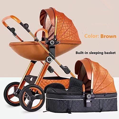Kinderwagen Zwei-Wege-Mode-Kinderwagen 2 in 1 Baby Kinderwagen Neugeborene Kinderwagen Kleinkinder Stubenwagen Falten Zurücklehnen (Farbe : Brown)