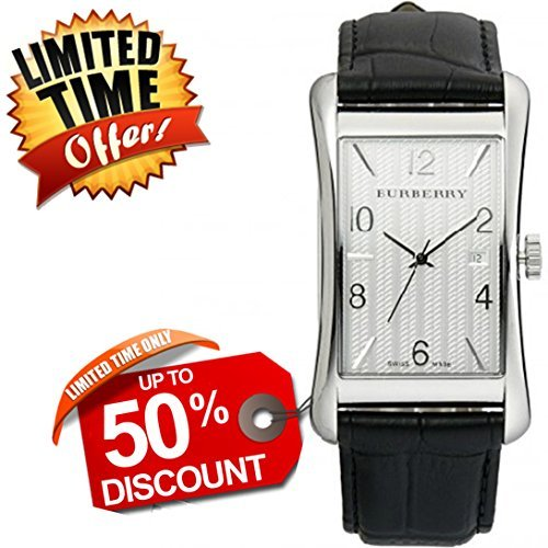 Burberry orologio unisex donna uomo Heritage Swiss Luxury Tonneau acciaio quadrante bianco data cinturino in pelle nera 40mm x 23mm BU3002