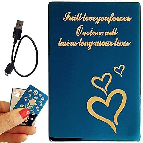 Coffret Briquet électronique USB rechargeable par câble USB (Coeurs BL)